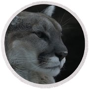 Cougar Profile Round Beach Towel