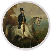 Count Alfred De Montgomery 1810-91 1850-60 Oil On Canvas Round Beach Towel