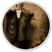 Count Dracula In Sepia Round Beach Towel
