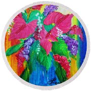 Countrified Exotic Round Beach Towel