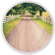 Country Back Roads Round Beach Towel