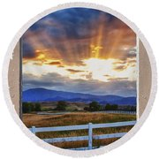 Country Beams Of Light Pealing Picture Window Frame Vie Round Beach Towel