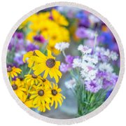 Country Blooms Round Beach Towel