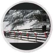 Country Christmas Round Beach Towel