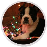 Country Christmas Puppy Round Beach Towel