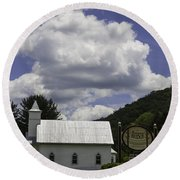 Country Church And Sign Round Beach Towel