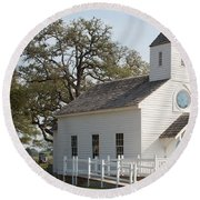 Round Top Texas Country Church Round Beach Towel