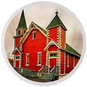 Country Church Paint Round Beach Towel