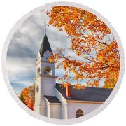 Country Church Under Fall Colors Round Beach Towel