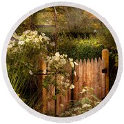 Country - Country Autumn Garden  Round Beach Towel by Mike Savad