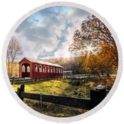 Country Covered Bridge Round Beach Towel by Debra and Dave Vanderlaan