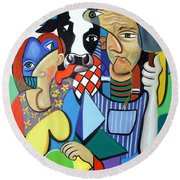 Country Cubism Round Beach Towel