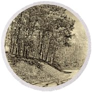 Country Curves And Vultures Sepia          Round Beach Towel