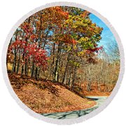 Country Curves And Vultures Round Beach Towel