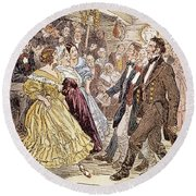 Country Dance, 1820s Round Beach Towel