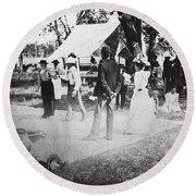 Country Dance, 19th Century Round Beach Towel