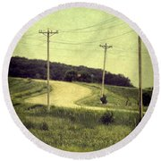 Country Dirt Road And Telephone Poles Round Beach Towel