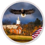 country Eagle Church Flag Patriotic Round Beach Towel