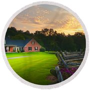 Country Estate Sunset Round Beach Towel