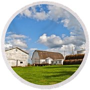 Country Farm Round Beach Towel by Frozen in Time Fine Art Photography