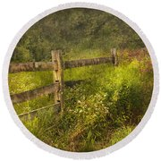 Country - Fence - County Border  Round Beach Towel by Mike Savad