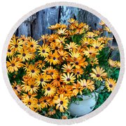 Country Floral Round Beach Towel