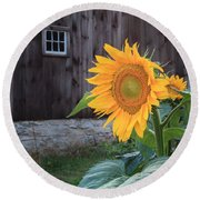 Country Flower Round Beach Towel