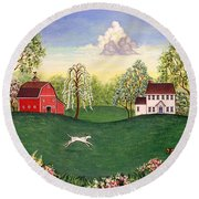 Country Frolic One Round Beach Towel
