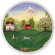 Country Frolic Two Round Beach Towel