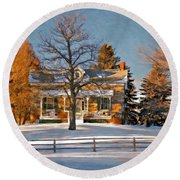 Country Home Oil Round Beach Towel