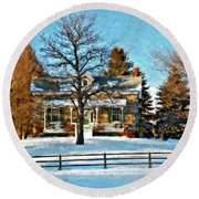 Country Home Watercolor Round Beach Towel