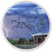 Country Horses Lightning Storm Ne Boulder County Co Hdr Round Beach Towel by James BO  Insogna