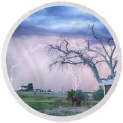 Country Horses Riders On The Storm Round Beach Towel