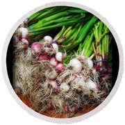 Country Kitchen - Onions Round Beach Towel