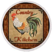 Country Kitchen Rooster Round Beach Towel
