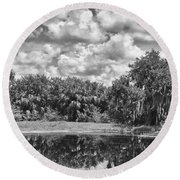 Country Lake 2 Round Beach Towel
