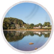 Country Lake Scene Round Beach Towel