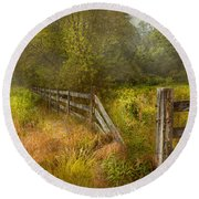 Country - Landscape - Lazy Meadows Round Beach Towel by Mike Savad