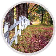 Country Lane Fall Foliage Vermont Round Beach Towel