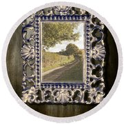 Country Lane Reflected In Mirror Round Beach Towel by Amanda Elwell
