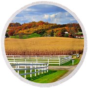 Country Lane Round Beach Towel by Frozen in Time Fine Art Photography