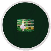 Country Meets City Round Beach Towel