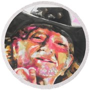 Country Music Artist...willie Nelson Round Beach Towel