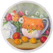 Country Pitcher With Sugar Bowl Round Beach Towel