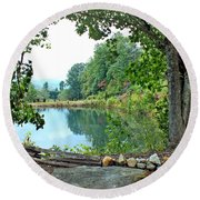 Country Pond Round Beach Towel
