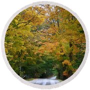 Country Road Fall Vermont Round Beach Towel