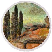 A Sunset In Tuscany Round Beach Towel