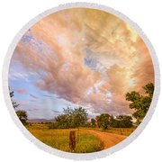 Country Road Into The Storm Front Round Beach Towel