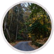 Country Road Round Beach Towel