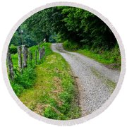 Country Road Round Beach Towel by Frozen in Time Fine Art Photography